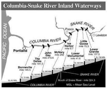 Columbia/Snake River System for barge navigation (ACOE graphic).