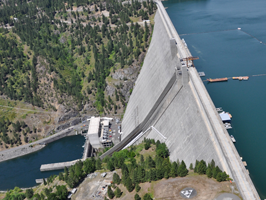 Dworshak Dam on the North Fork Clearwater River in Idaho. With a height of 717 feet , Dworshak is the third tallest dam in the United States and the tallest straight-axis concrete dam in the Western Hemisphere.
