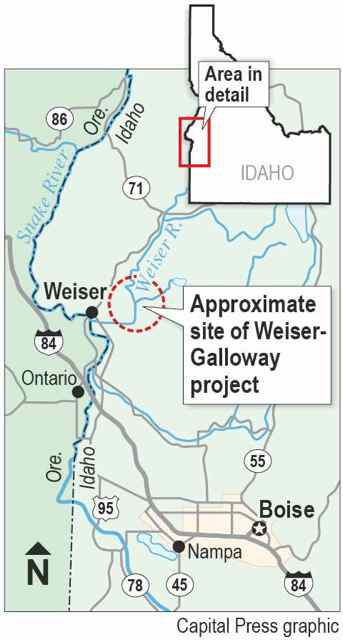 Map: Idaho's state government is considering a new dam near Weiser, Idaho