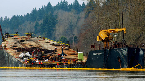 The barge Davy Crockett. This photo by Casey Gregg, was shot while on a kayak trip from Camas to Vancouver