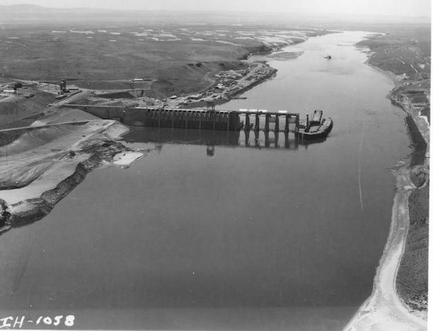 Ice Harbor dam under construction in the early 1960s on the Lower Snake River in remote southeastern Washington State.