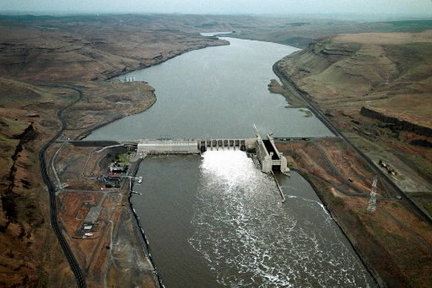 Water runs through spillway gates of Lower Monumental Dam on the Lower Snake River in southeastern Washington. Increased spills benefit salmon.