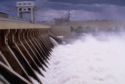 McNary dam spillways 'spill' the Columbia river.